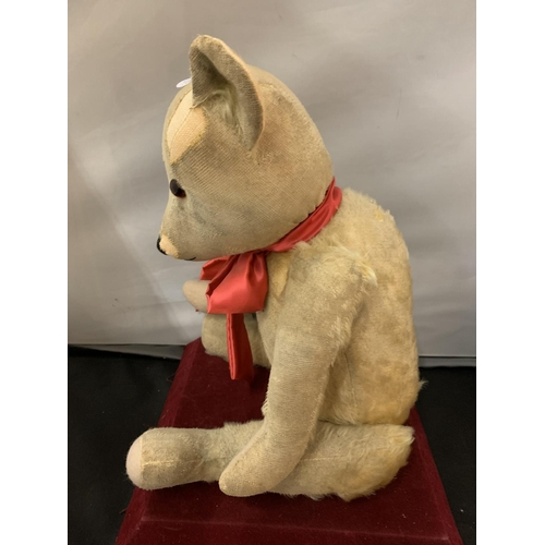 101 - A VINTAGE TEDDY BEAR WITH RED BOW (BELIEVED 1920S)...