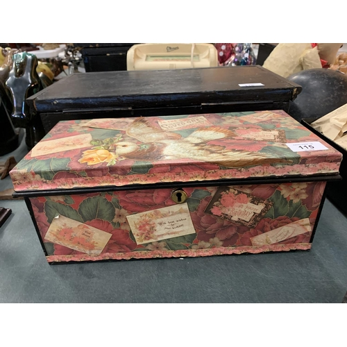 115 - A VICTORIAN PAPER COVERED TIN BOX...