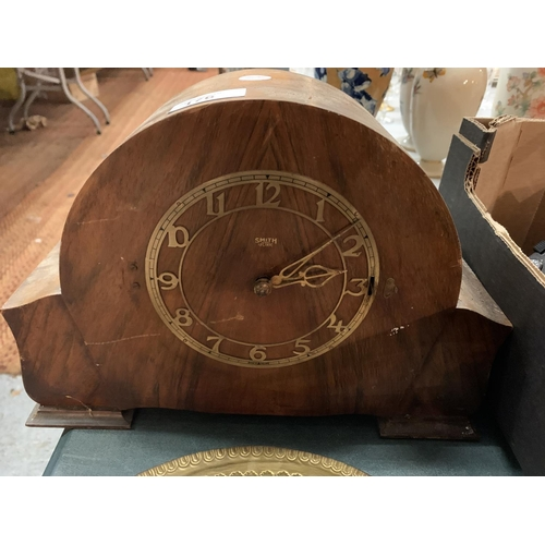 176 - A WOODEN MANTEL CLOCK (A/F)