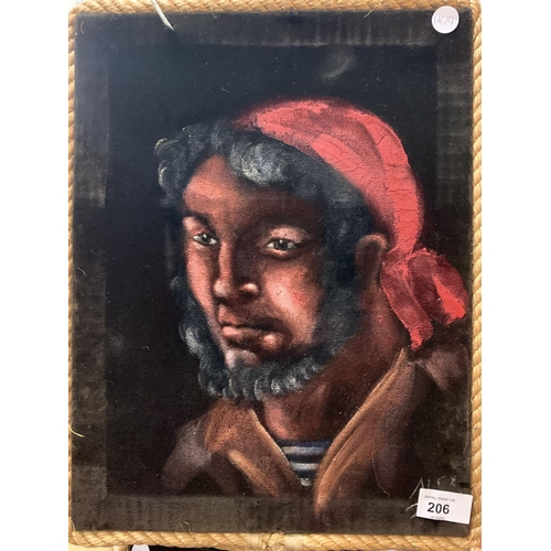 206 - A PAIR OF SIGNED PAINT ON FABRIC PICTURES DEPICTING PIRATES...