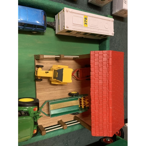 217 - A WOODEN FIELD LAYOUT WITH WOODEN IMPLEMENT SHED, A JOHN DEERE 6920 LOADER TRACTOR, A FORKLIFT TRUCK...