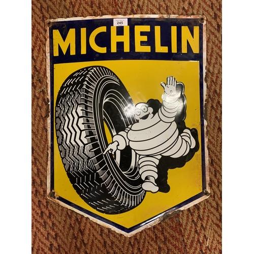 245 - AN ENAMEL MITCHELIN TYRES ADVERTISING SIGN...