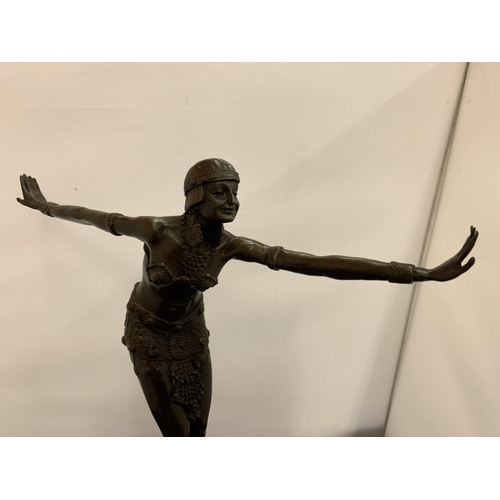 7 - AN ART DECO BRONZE CHARLESTON DANCING FIGURE MOUNTED ON A MARBLE PLINTH AND SIGNED D H CHIPARUS HEIG...