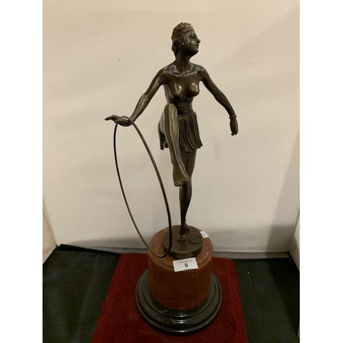 8 - A BRONZE FIGURINE IN THE FORM OF AN ART DECO DANCER ON A MARBLE BASE SIGNED D ALONZO HEIGHT 49CM