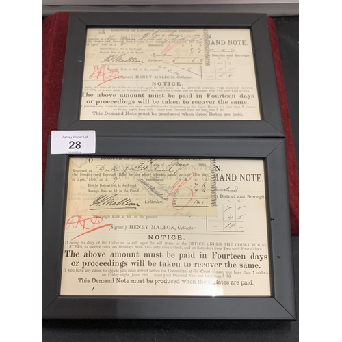 28 - A PAIR OF DUKE OF SUTHERLAND SIGNED RECEIPTS