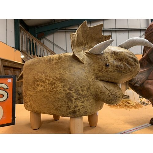 39 - A FAUX LEATHER TRICERATOPS FOOT STOOL HEIGHT APPROXIMATELY 35CM