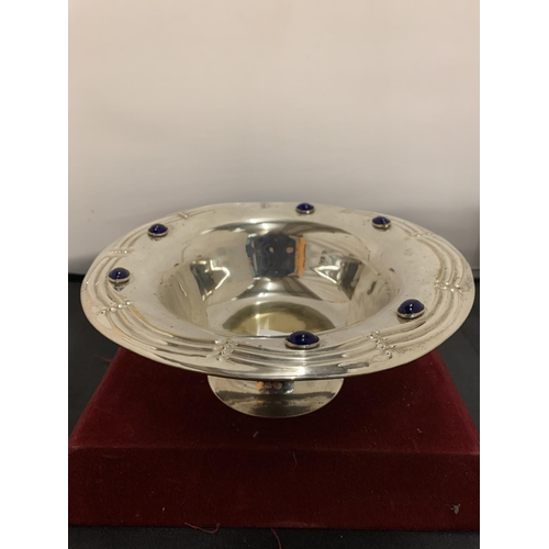 52 - A SILVER PLATE BOWL IN THE ARTS & CRAFT STYLE WITH BLUE STONE DETAIL...