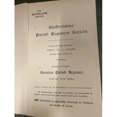 264 - A STAFFORDSHIRE PARISH REGISTERS SOCIETY BURSLEM 1809 - 1812