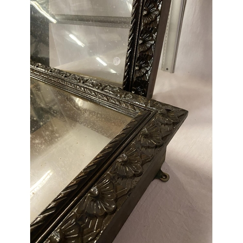 13 - A PAIR OF HEAVILY CARVED OAK AND MAHOGANY GLASS FRONTED WALL CUPBOARDS (ONE GLASS DOOR A/F) - HEIGHT...
