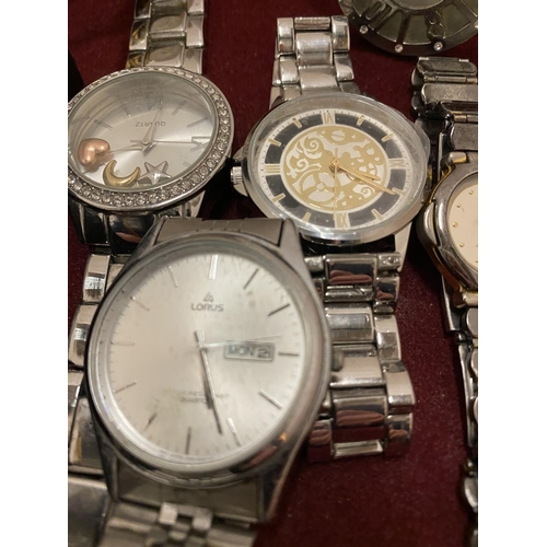 14 - AN ASSORTMENT OF WRIST WATCHES WITH METAL STRAPS TO INCLUDE A LORUS, A REPRODUCTION ROLEX ETC...