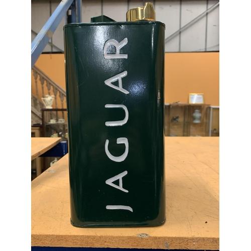 36 - A GREEN JAGUAR PETROL CAN WITH BRASS TOP...