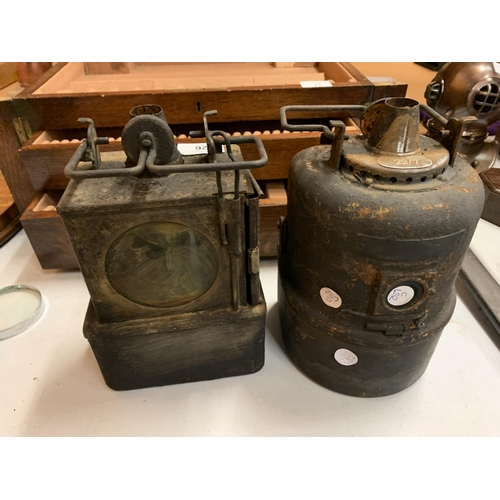 26 - TWO VINTAGE RAILWAY LAMPS...