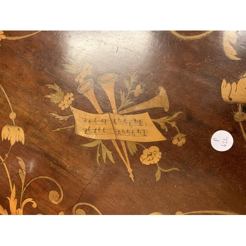27 - A VINTAGE INLAID WOODEN  OVAL TRAY WITH BRASS HANDLES - WIDTH 64CMS