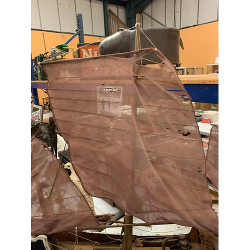 3 - A LARGE WOODEN PAINTED GALLEON WITH SAILS AND RIGGING (A/F)- 90CMS LONG