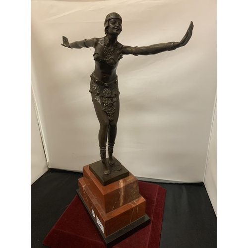 40 - AN ART DECO BRONZE CHARLESTON DANCING FIGURE MOUNTED ON A MARBLE PLINTH AND SIGNED D H CHIPARUS HEIG...