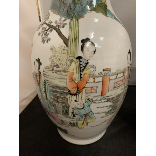 2 - A VERY LARGE PAIR OF ANTIQUE GUAN YAO NEI ZAO CHINESE IMPERIAL PORCELAIN VASES (H: 39CM)