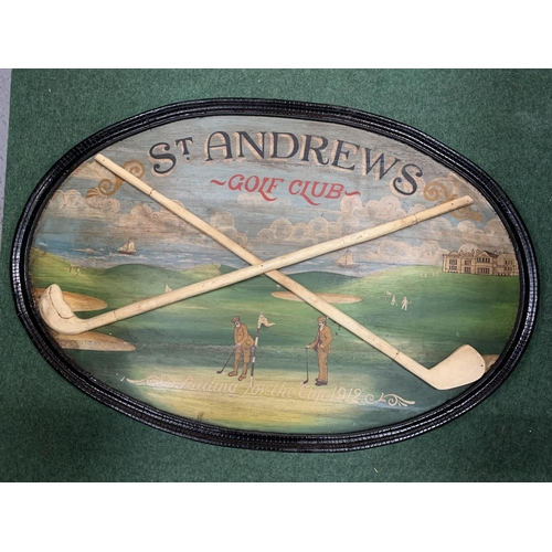 23 - A VINTAGE PAINTED ST ANDREW'S GOLF CLUB SIGN WITH WOODEN FRAME (90X60CM)
