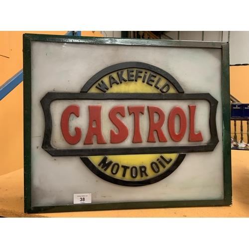 38 - AN ILLUMINATED 'CASTROL' SIGN