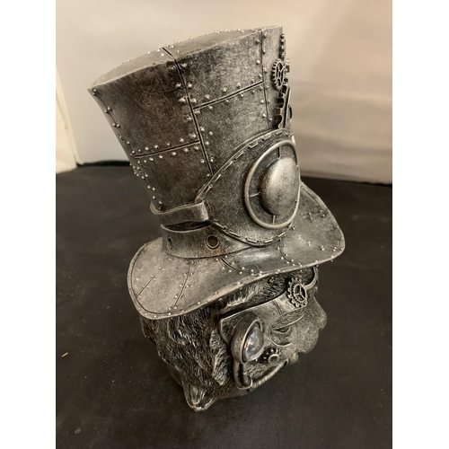 40 - A STEAM PUNK CAT IN A TOP HAT (APPROXIMATELY 23CM)