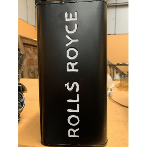 42 - A ROLLS ROYCE FUEL CAN WITH BRASS LID