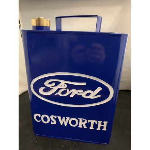 46 - A 'FORD COSWORTH' FUEL CAN WITH BRASS LID
