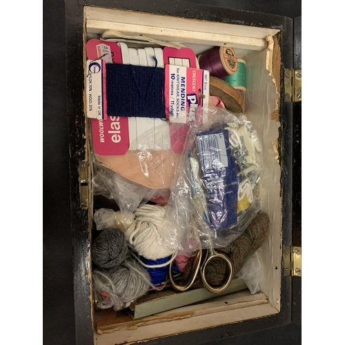 50 - AN INLAID WOODEN HINGED BOX TO INCLUDE THE SEWING PARAPHERNALIA CONTENTS