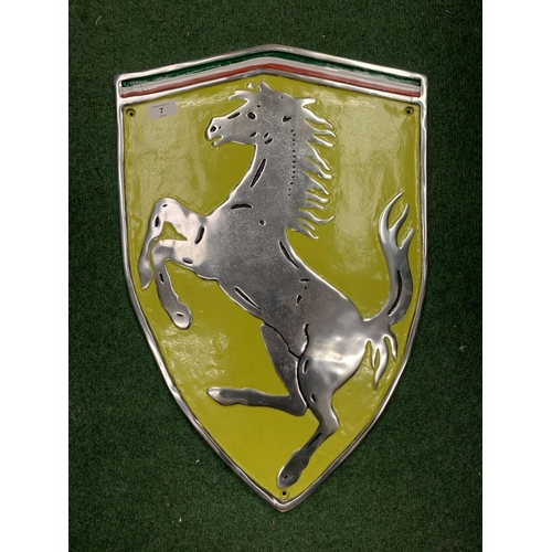 7 - A LARGE CHROME PAINTED FERRARI SIGN (H: 60CM)