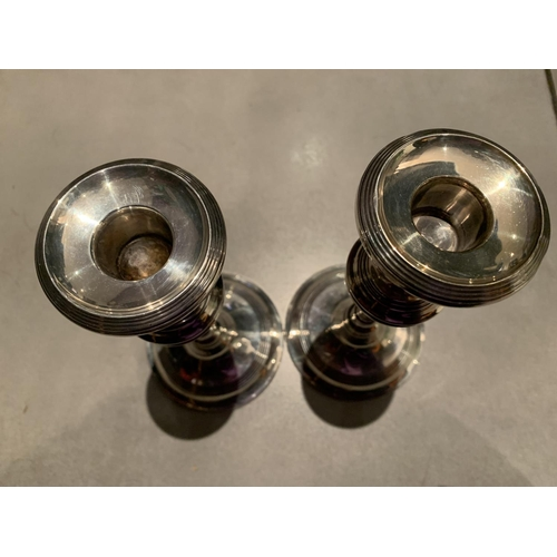 20A - A PAIR OF SILVER CANDLESTICKS HALLMARKED BIRMINGHAM 1912 HEIGHT 8 INCHES