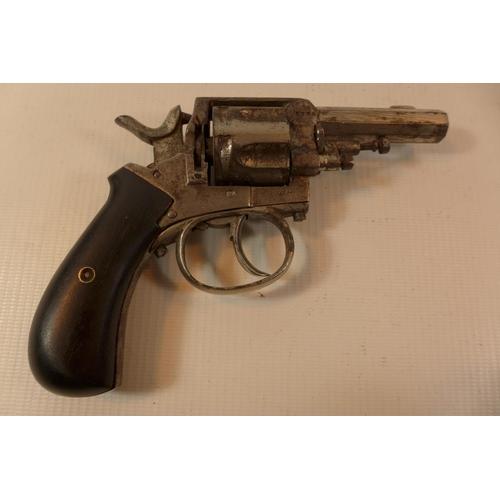 335 - AN OBSOLETE CALIBRE 32 RIMFIRE SIX SHOT REVOLVER WITH 6.5CM BARREL