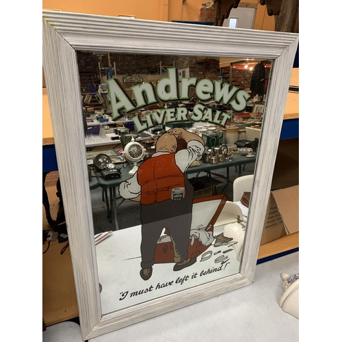19 - A LARGE VINTAGE ANDREW'S LIVER SALTS MIRROR WITHIN A PAINTED WOODEN FRAME 94CM X 68CM