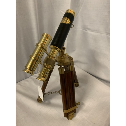 32 - A BRASS AND LEATHER MARITIME TELESCOPE H:37CM