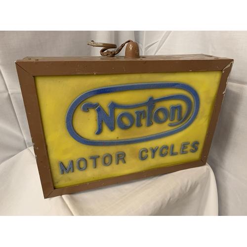 37 - AN ILLUMINATED 'NORTON MOTOR CYCLES' SIGN