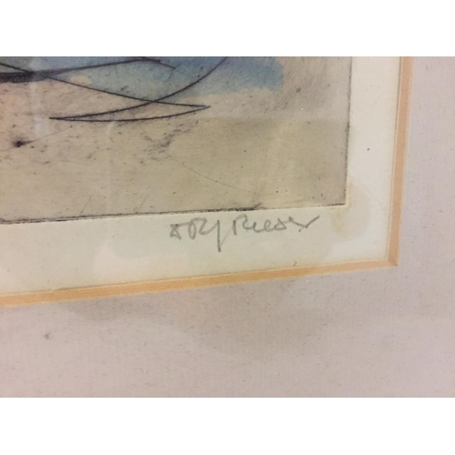 1 - A FRAMED ABSTRACT BY DOLF RESER ARTISTS PROOF OF ORIGINAL, NOT PRINT ETCHING & LISTED ARTIST, HIS WO...