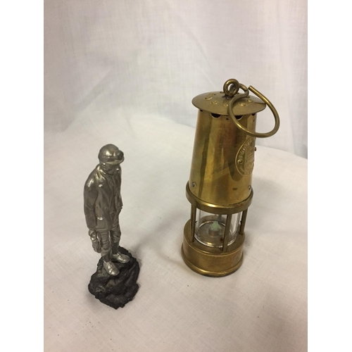 10 - A BRASS MINATURE MINERS PROTECTION LAMP ECCLES AND A FIGURE OF A MINER