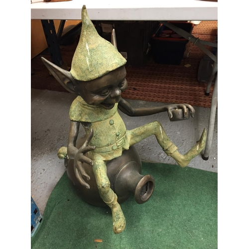 40 - A LARGE BRONZE FIGURE OF A PIXIE