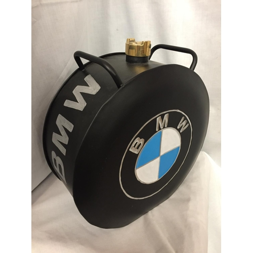 43 - A BLACK BMW PETROL CAN WITH A BRASS TOP