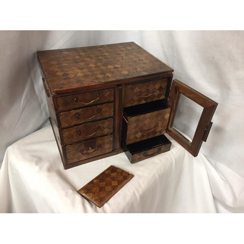 50 - A MINATURE PARQUE WOODEN CHEST WITH DRAWERS 32CM X 26CM
