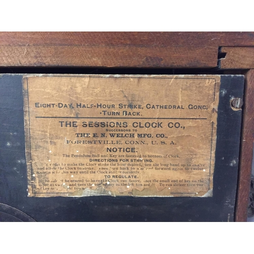 52 - A VICTORIAN EIGHT DAY CATHEDRAL GONG EBONISED MANTEL CLOCK BY THE SESSIONS CLOCK CO.