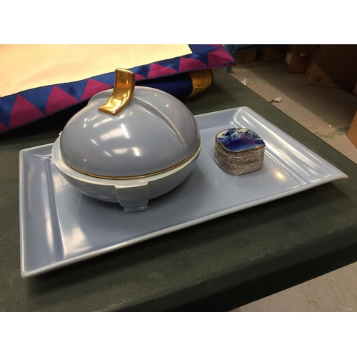 56 - TWO ITEMS OF CARLTON WARE FOR THE DRESSING TABLE PLUS A SILVER PLATED TRINKET BOX WITH BLUE INLAY EN...