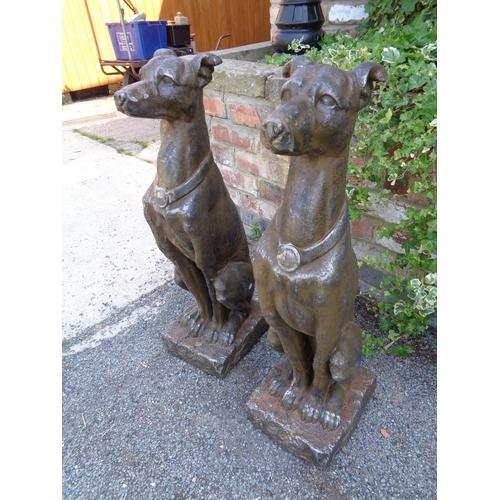 2 - TWO LARGE RESIN TYPE DOG STATUES