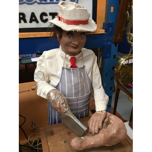 10 - A 1970'S BUTCHER CHARACTER AUTOMATION PUPPET FIGURE