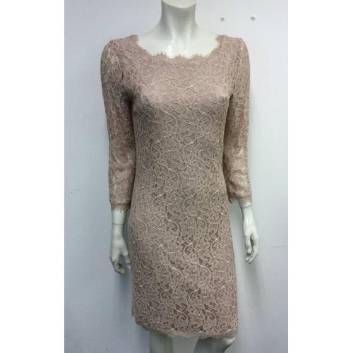 34 - DIANE VAN FURSTENBERG -  a ladies pink lace dress, size small...