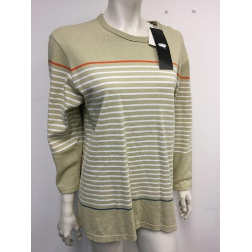 38 - UNDERCOVER CO LTD - a ladies beige striped jumper dress, size 14...