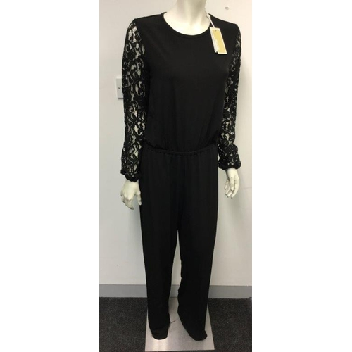 40 - MICHAEL KORS - a ladies black jumpsuit with lace sleeves, size 8