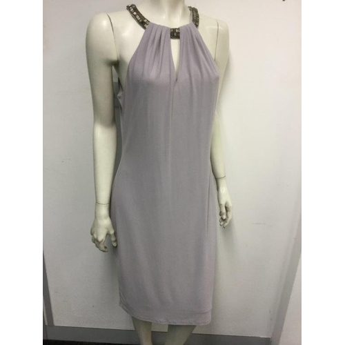 42 - CARMEN MARC VALVO - a ladies blue dress with detailed neck line, size 14...