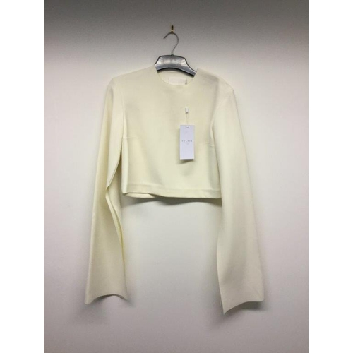 44 - SOLACE LONDON - a ladies white cropped long sleeve top, size 6...