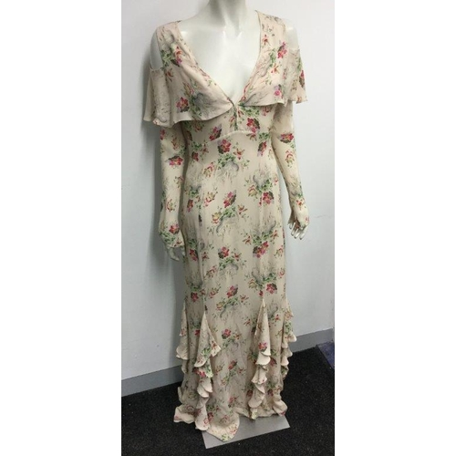 53 - VILSHENKO - a ladies long floral dress, size 14...