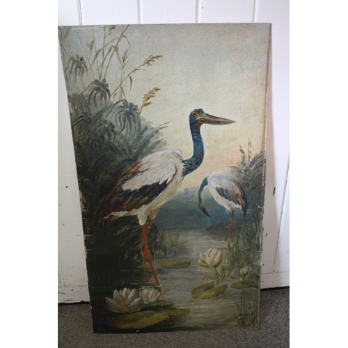 1 - A VICTORIAN UNFRAMED OIL ON CANVAS LAID ON BOARD OF STORKS...