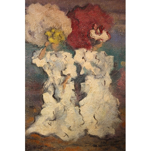 13 - (XX). Impressionist scene with figures holding parasols, signed lower right, oil on card laid on boa...