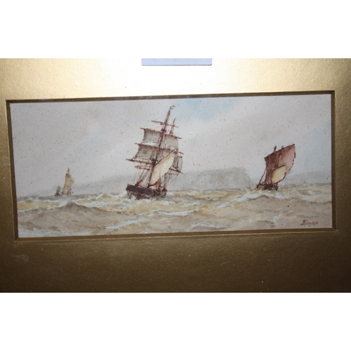 14 - FREDERICK JAMES ALDRIDGE (1850-1933). Pair of stormy coastal scene with sailing vessels, signed lowe...